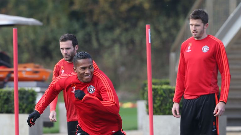 Antonio Valencia in action at Manchester United training on Tuesday morning