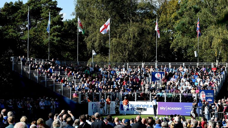 Packed grandstands at Woburn for the British Masters