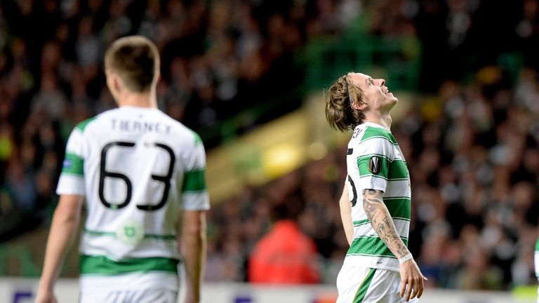 Stefan Johansen looks to the sky after Celtic threw away a two-goal lead