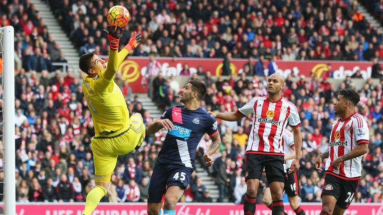 Costel Pantilimon makes a save during the derby against Newcastle