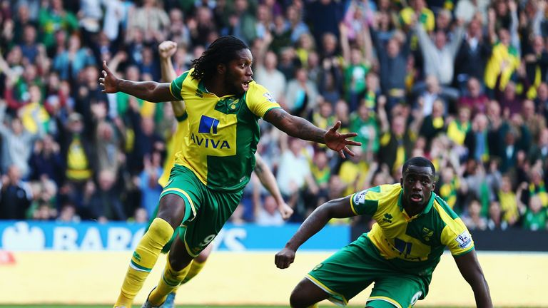 Dieumerci Mbokani pulls one back for Norwich in the 68th minute - but the Canaries fail to pull the game level.