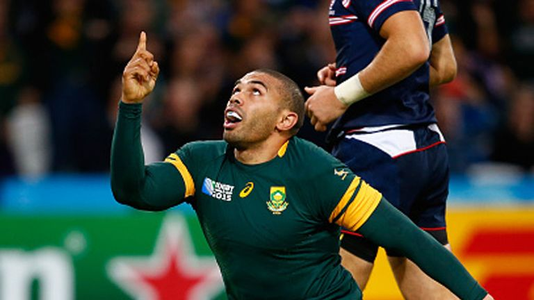 Bryan Habana has now levelled Jonah Lomu's record of 15 World Cup tries