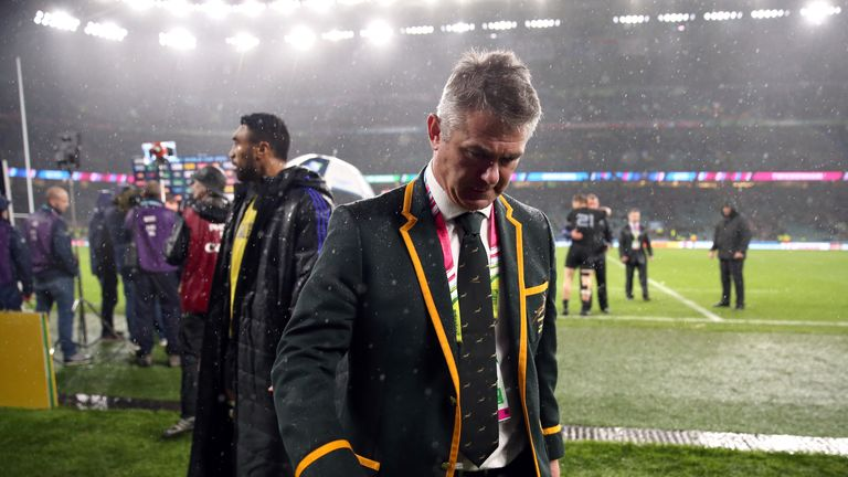 South Africa coach Heyneke Meyer after the Rugby World Cup Semi Final v New Zealand at Twickenham