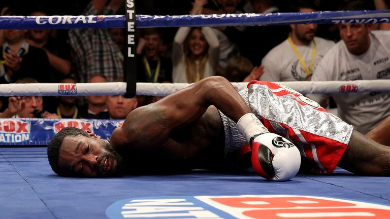 Thompson was floored in the seventh but was thankfully able to get up soon after