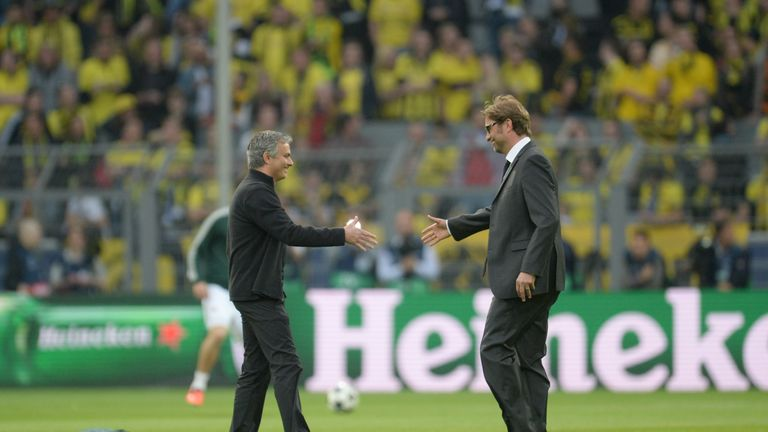 Jurgen Klopp (right) faced Jose Mourinho four times in 2012/13 when they were at Borussia Dortmund and Real Madrid