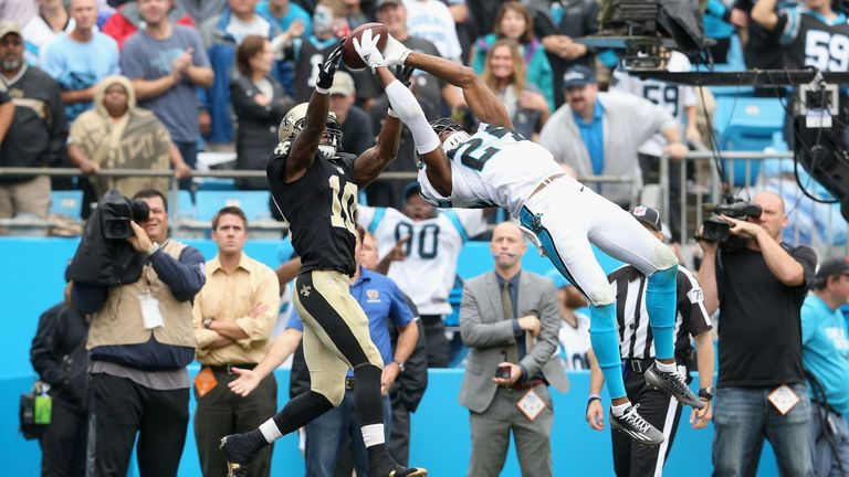 Josh Norman #24 of the Carolina Panthers makes a game saving interception against Brandin Cooks #10 of the New Orleans Saints