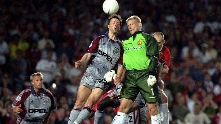 Schmeichel went up for a corner in the closing stages of the 1999 Champions League final