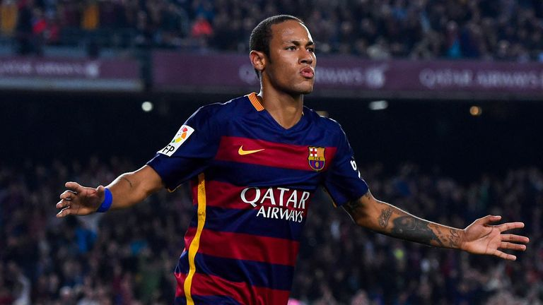 Neymar celebrates after scoring for Barcelona