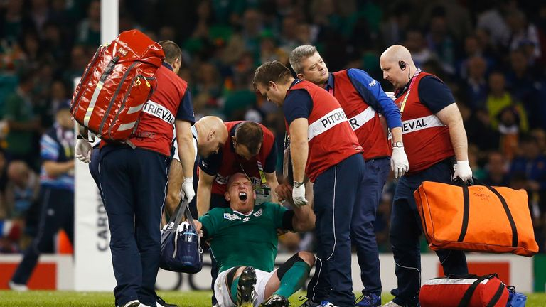 Paul O'Connell receives medical treatment at the Millennium Stadium