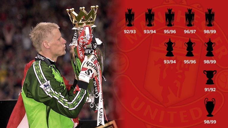 Schmeichel lifted 10 major trophies during his eight-year spell at Old Trafford