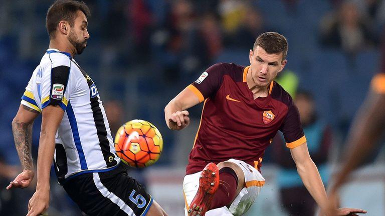 Roma's forward Edin Dzeko shoots on goal