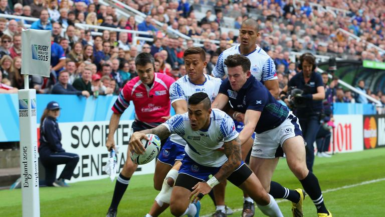 Pisi scores a try against Scotland during last year's Rugby World Cup