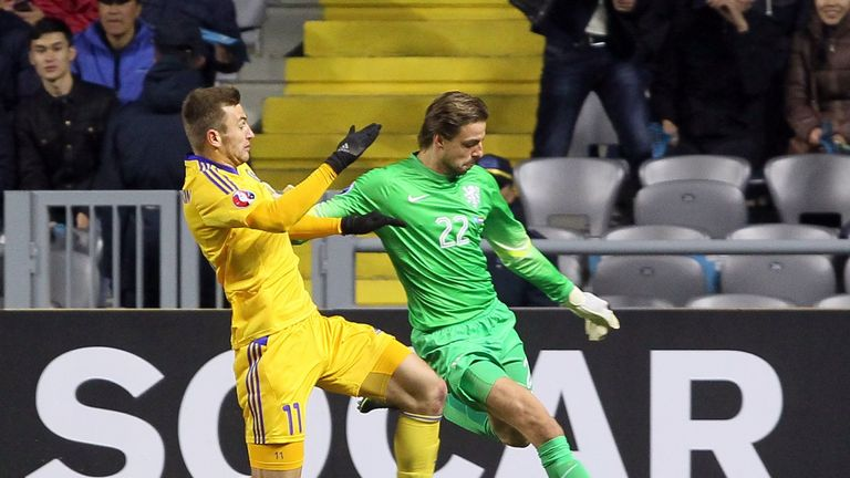 Tim Krul was substituted towards the end of the Netherlands' 2-1 win in Kazakhstan