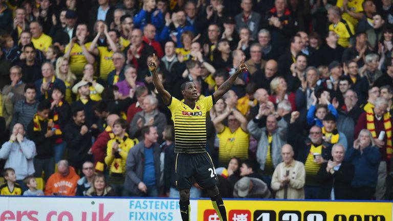 Watford's Odion Ighalo celebrates scoring his team's second goal