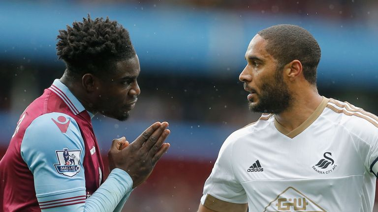 Swansea's Ashley Williams (right) has made the most blocks of any Premier League defender