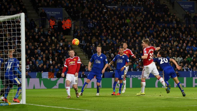 Bastian Schweinsteiger (second right) equalises for Manchester United in first-half injury time at Leicester