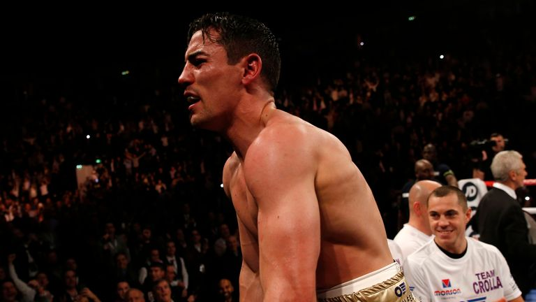 Anthony Crolla celebrates victory over Darleys Perez during the WBA World lightweight title at Manchester Arena, Manchester.