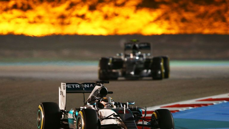 Lighting the way: Hamilton would three of the opening four races of 2015, including the Bahrain GP - Picture by Mark Thompson, Getty Images
