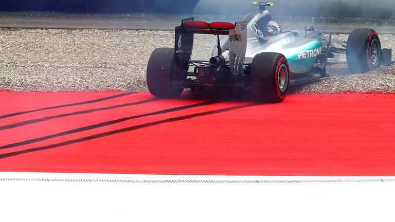 Out and about: Nico Rosberg crashes out of qualifying for the Austrian GP - Picture by Mark Thompson, Getty Images
