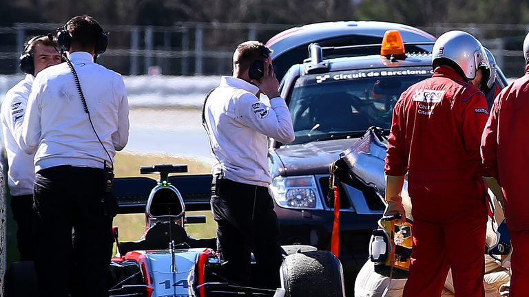 The crash scene: Alonso would spend three nights in hospital after his crash at Barcelona on February 22 - Picture by Mark Thompson, Getty Images