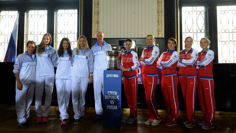 The Czech Republic and Russian teams ahead of the Fed Cup final