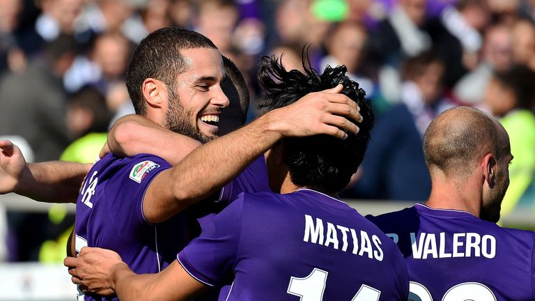 Fiorentina celebrate as they move top of the table again