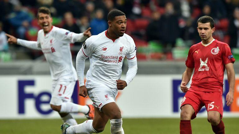 Liverpool's English midfielder Jordon Ibe (centre) celebrates after opening the scoring in Kazan