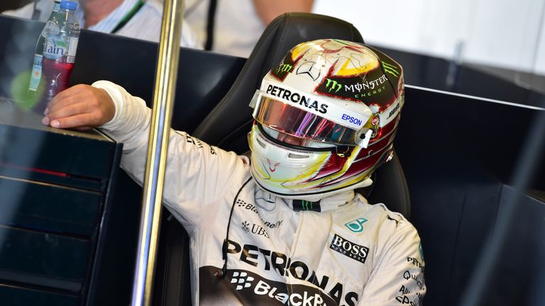 Hamilton didn't appear to be sitting as comfortably when in his W06, despite setting the pace