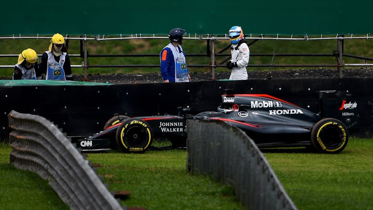 The McLaren-Honda MP4-30 twice pulled up onto the grass during the Brazilian GP weekend