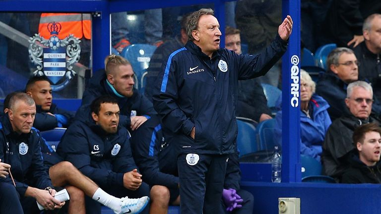 QPR interim Neil Warnock issues instructions from the bench