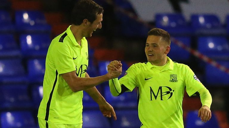 Jack Payne (r) of Southend United celebrates after scoring against Oldham