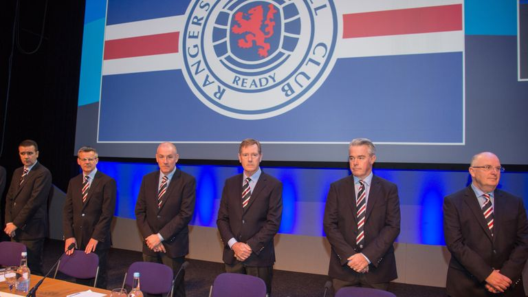 (Left-right) Stewart Robertson, Rangers manager Mark Warburton, chairman Dave King, vice-chairman Paul Murray and John Gilligan at the club's AGM