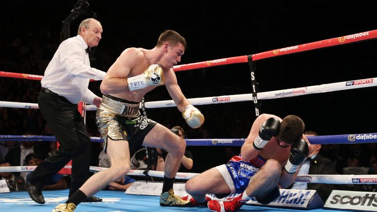 Callum Smith (left) had Rocky Fielding in trouble from the first bell