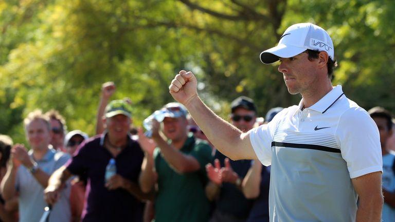 Rory McIlroy celebrates winning the season finale in Dubai