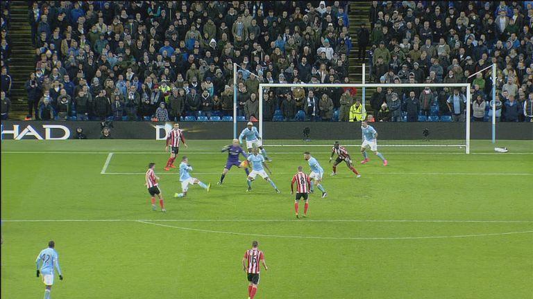 Man City's Fernandinho blocks a goalbound effort from Graziano Pelle of Southampton inside the penalty area