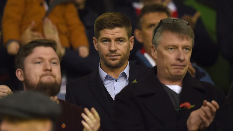 Steven Gerrard was in attendance at Anfield with a watching brief