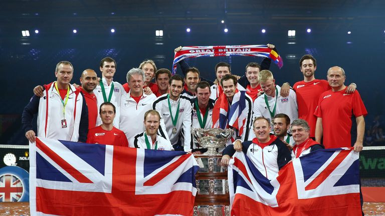 The Great Britain team celebrate with the Davis Cup following victory against Belgium