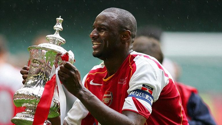 Patrick Vieira lifting the FA Cup