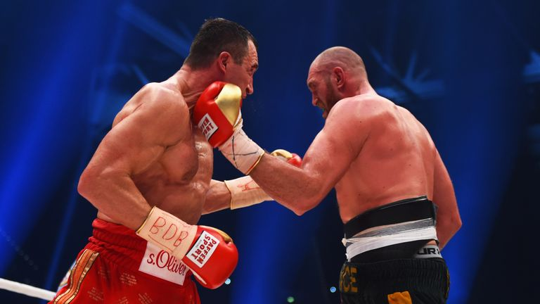 Fury (R) stunned the boxing world by outpointing Wladimir Klitschko
