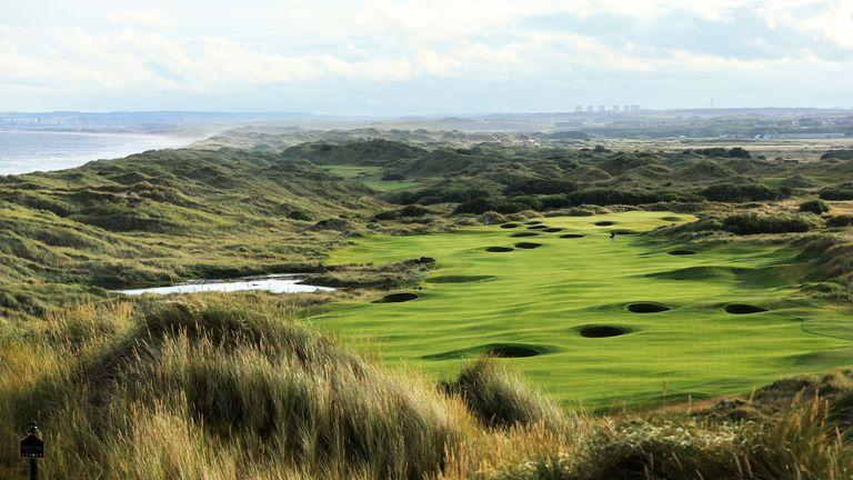 The 18th hole at Trump International Golf Links in Balmedie, Aberdeenshire