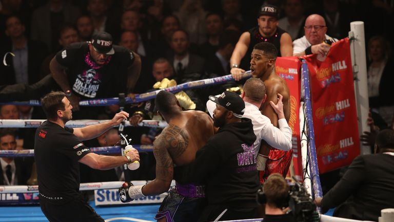 Whyte and Joshua brawled after the bell