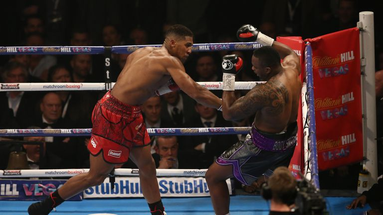 Joshua halted bitter rival Dillian Whyte to bring up his 15th straight win