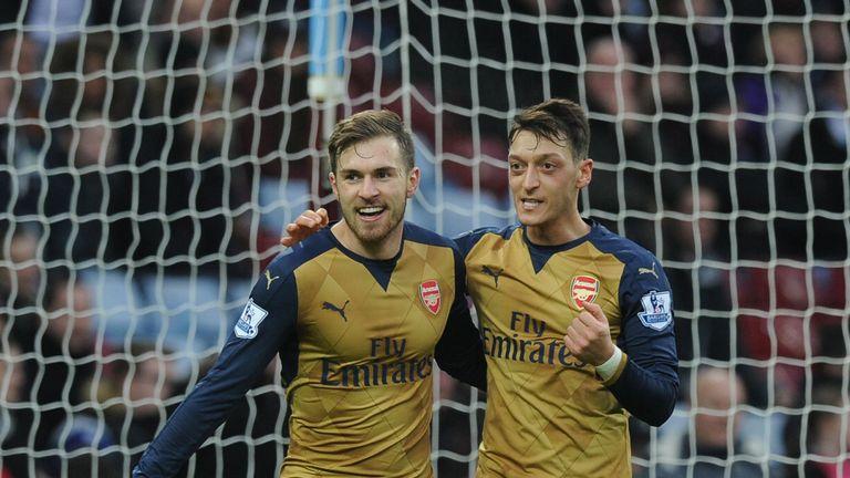 Aaron Ramsey celebrates scoring second Arsenal goal