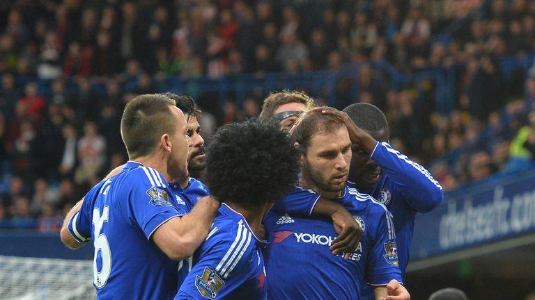 Chelsea's Branislav Ivanovic (R) celebrates putting his side 1-0 up at Stamford Bridge