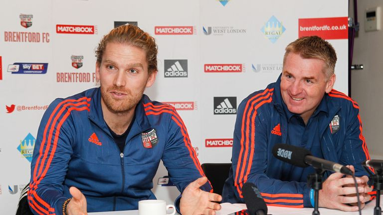 Rasmus Ankersen (left) has a dual role at Brentford and Midtjylland