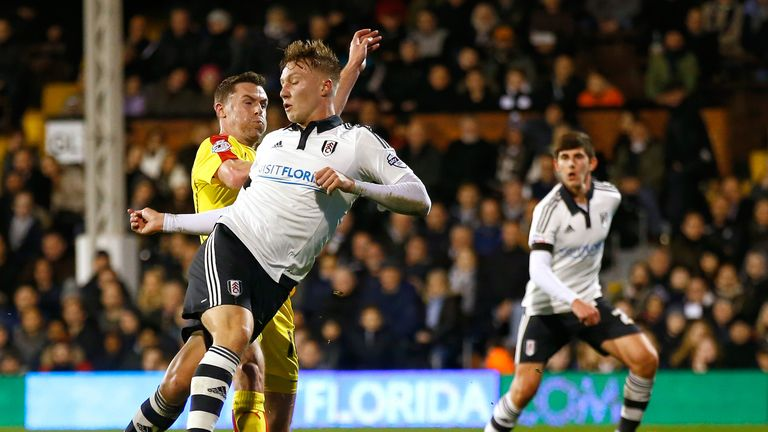 Cauley Woodrow scores his second goal for Fulham