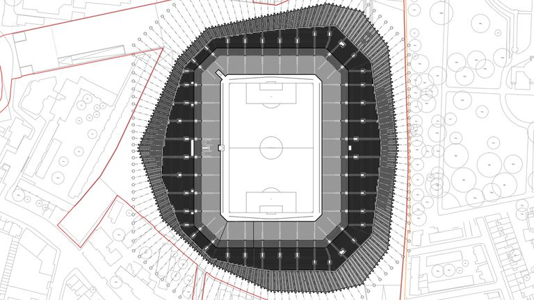 The plans for the stadium have been submitted to the authorities