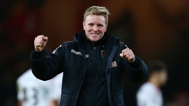 Eddie Howe celebrates another famous win