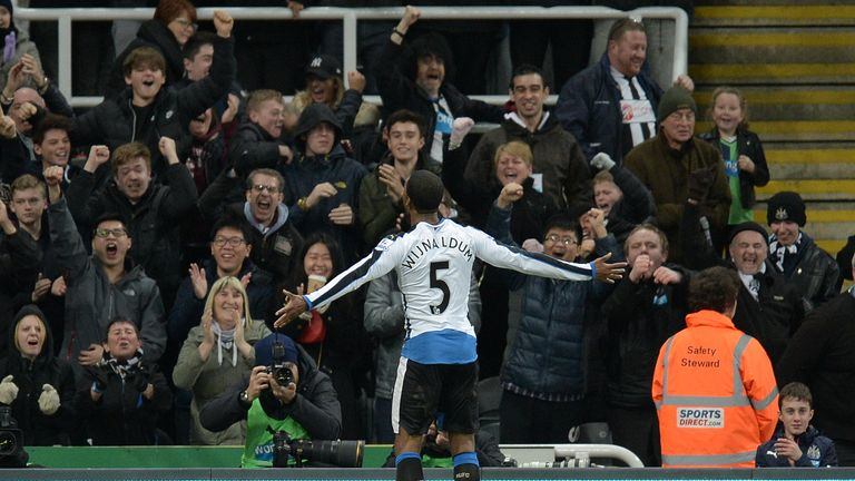 Wijnaldum celebrates only Newcastle's second home victory in the league this season