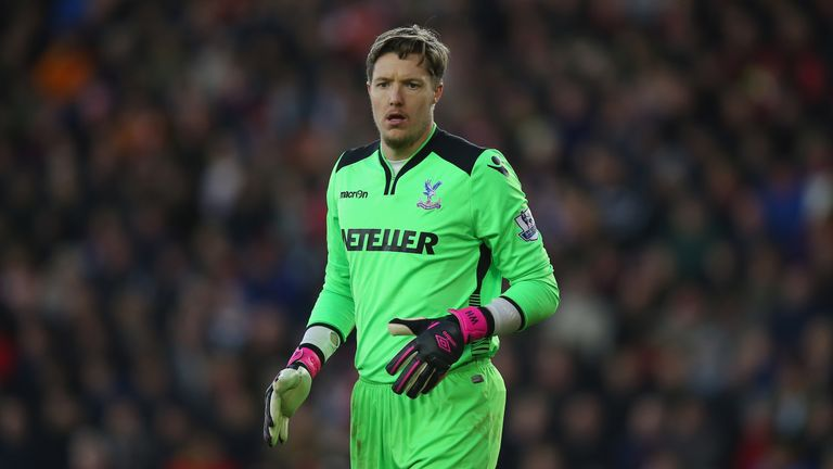 Crystal Palace goalkeeper Wayne Hennessey in action against Southampton
